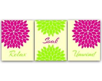 relax soak unwind instant download bath art printable bathroom wall art lime green - Lime Green Bath Decor