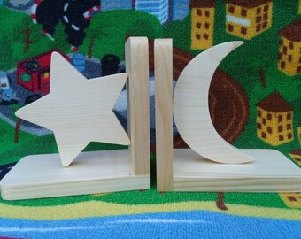 Handmade, eco-friendly wooden bookends (moon and star) kids room, nursery decor, child's bookends