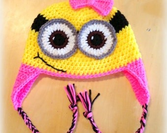 Crochet girl Minion bow earflap hat - One and two eyed Child-Adult Made to order