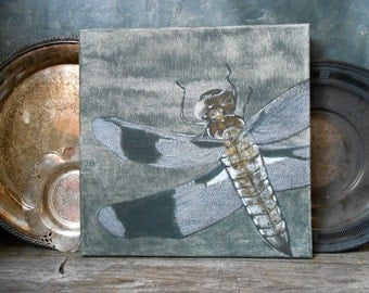 Dragonfly on the Screen Door Original Acrylic Painting:  Short Visit - Original Art Acrylic 12 x 12