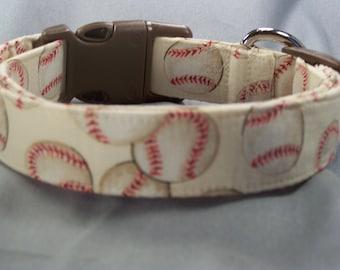 Cream Baseball Dog Collar