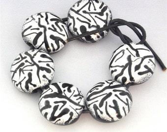 Mod Zebra Print Handmade Lampwork Bead Set