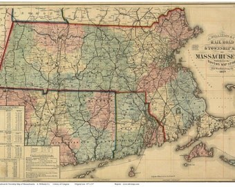 Old Railroad Map 1879 of Massachusetts, Connecticut, & Rhode Island by Williams    Reprint
