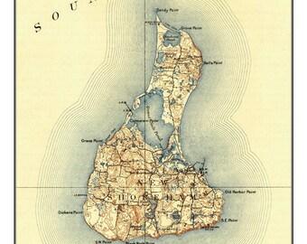 Block Island - 1899 Topographic Map  - Rhode Island Custom Reproduction USGS