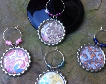 Colorful Paisley Fun wine glass charms