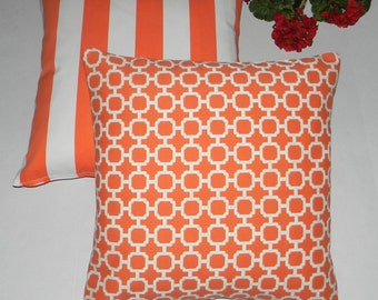"""SET OF 2 - 20"""" Orange and White Geometric Hockley & Stripe Feather and Down Decorative Throw Pillows"""