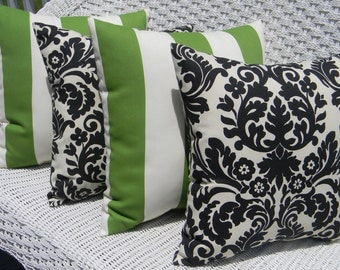 """SET OF 4 - 20""""  Indoor / Outdoor Decorative Throw Pillows - 2 Green and Ivory Stripe & 2 Black and Ivory Damask Scroll"""