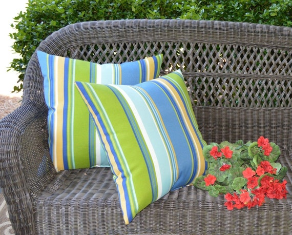 Set of 2 Pillow Covers Blue Green Yellow White Stripe