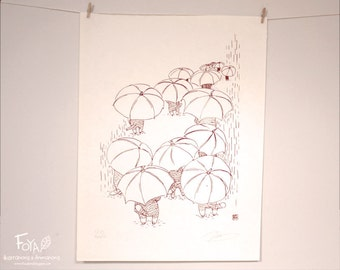 Cats and Parapluies: Handmade Serigraphy A3, Limited Edition