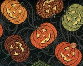 HALLOWEEN Quilting Cotton - In the Beginning - Hallowgraphix ii Jack-o-Lanterns on Black - Halloween Pumpkin Fabric - HALF Yard