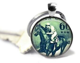 Thoroughbred horse keychain vintage equestrian key chain horse racing keyring.