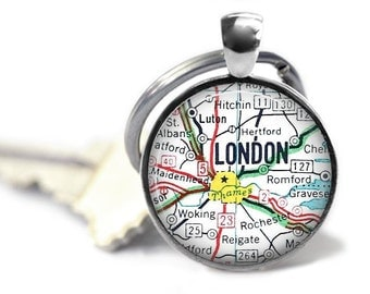 London map keychain vintage road atlas key ring groomsman gift European travel gift.
