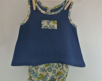 Baby Girls Tunic and Bloomers Frilly Knickers Navy Floral 6-12 Months FREE UK SHIPPING