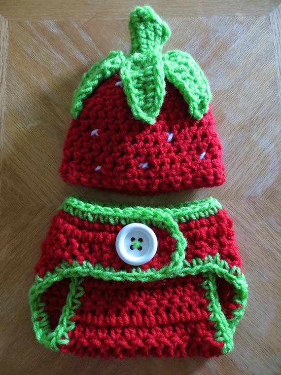 Newborn Strawberry Hat Crochet Pattern : Crochet STRAWBERRY Hat w/Matching Diaper Cover crochet photo
