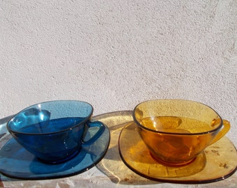 Vintage French Pyrex Glass Coffee Cups
