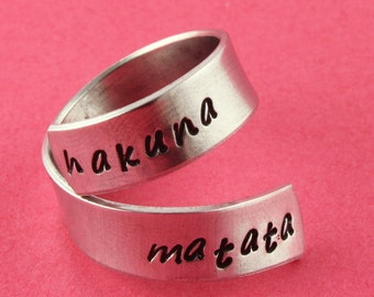 SALE - Hakuna Matata Wrap Twist Ring with Star on Inside - Adjustable Aluminum Ring - Handstamped Ring - Sizes 5 6 7 8 9 10 11 12 13 14 15