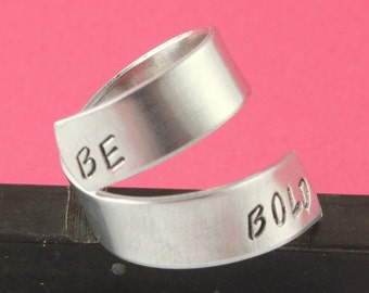 SALE - Be Bold Wrap Twist Ring - Adjustable Twist Aluminum Ring - Handstamped Ring