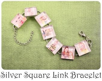 Custom Photo Bracelet Silver Square Link Bracelet