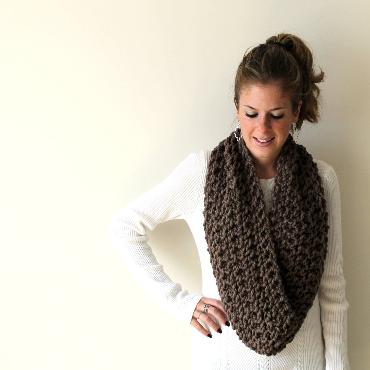 Snowman Knitting Patterns : Knit Chunky Knitted Scarf Cowl Taupe D.C. Cowl by PeonyKnits
