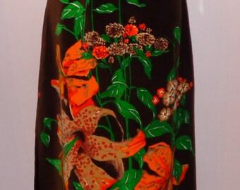 Vtg 70s Mr Dino Asian Orange Lily Print Classic Mod Velvet Maxi Skirt 10 M