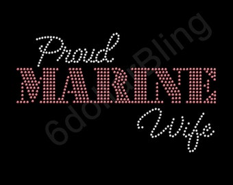 "Rhinestone Iron On Transfer ""Proud Marine Wife"" Crystal Bling Miltary Design Pink - Make Your Own Shirt DIY!"