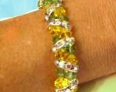 RESERVED FOR SONJA -Swarovski gem 2-row bracelet w/Rhinestone Spacers for Spring