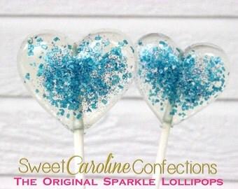 Heart Lollipops, Blue Wedding Favor, Party Favors,  Baby Shower Favors, Heart Candy, Lollipops, Sweet Caroline Confections- -Set of Six