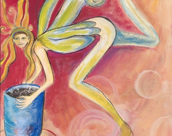 Angel With Bowl  Greeting Card from Jennifer Kunin's Wings Series