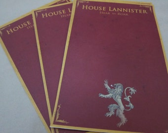Game of Thrones - House Lannister Writing Sheets