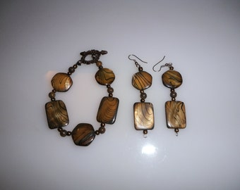 Caramel Mother of Pearl Drop Earrings and matching Bracelet