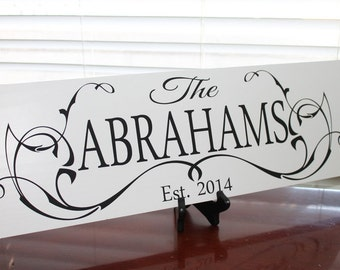 Personalized Family Name Sign, Custom Wooden Sign, Last Name Sign, Bridal Shower Gift, Wedding Gift, Established Family Sign, Unique Wedding