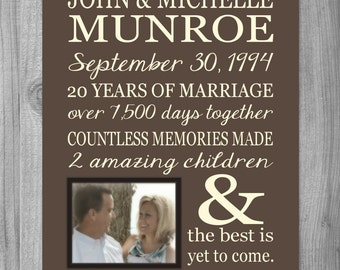 PERSONALIZED 25th Anniversary Gift for Wife Personalized Print Parents Anniversary Custom Photo Gift Art Print 25 Years Important Dates