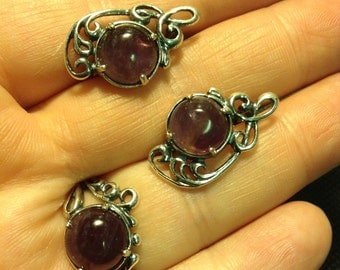 Earrings and Ring Amethyst. Handmade, marked .777. Russia