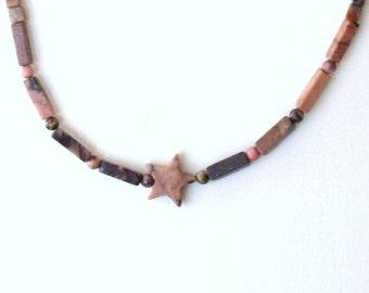 Handmade Rhodonite Stone Star Necklace