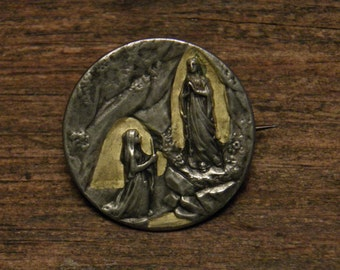 antique silver plated religious medal brooch appearance of our virgin mother Mary in Lourdes