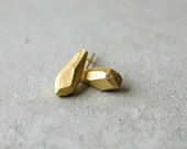 rock drop golden earrings, faceted drop earrings, valentine's gift, designer earrings, handmade geometric, bridal earrings, minimalist studs