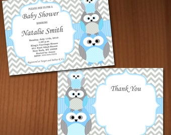 Owl Baby Shower Invitation Boy Baby Shower invitations Printable Baby Shower Invites -FREE Thank You Card - editable pdf Download (562) blue
