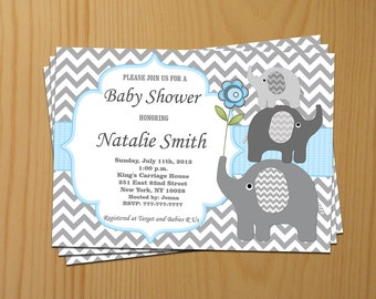Blue Elephant Baby Shower Invitation Boy Baby Shower Invitation Printable Baby Shower Invite (49d2) - Free Thank You Card