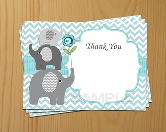 Thank You Card printable Thank You editable Elephant Thank You Card (79a) instant download