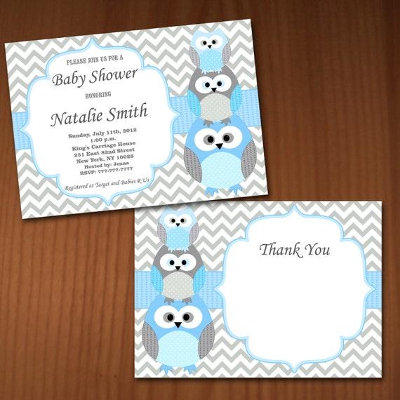 Owl baby shower invitation boy baby shower invitations for Etsy owl wedding invitations