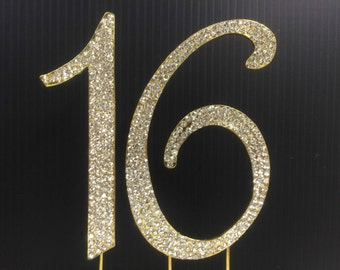 Rhinestone Gold  NUMBER (16) Cake Topper 16th for Birthday Parties FREE SHIPPING