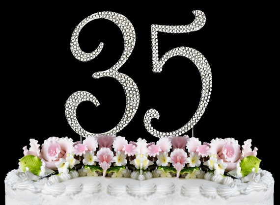 New large rhinestone number 35 cake topper 35th birthday for 35th birthday decoration ideas