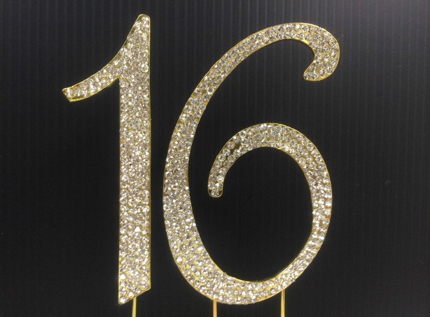 Rhinestone Gold NUMBER 16 Cake Topper 16th For Birthday