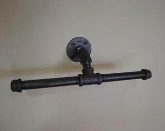 Industrial Double Toilet Paper Holder, plumbing pipe repurposed industrial decor, bathroom decor, toliet paper holder