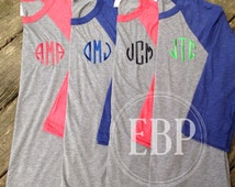 Monogrammed Raglan Baseball Tee Personalized Monogrammed T-shirts