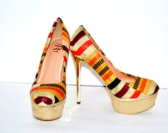 Kente Fabric Platform Shoes, Multi-Color Pattern,  Kente Fabric Platform Shoes -Platform Wedding Shoes -High Heels - Platforms