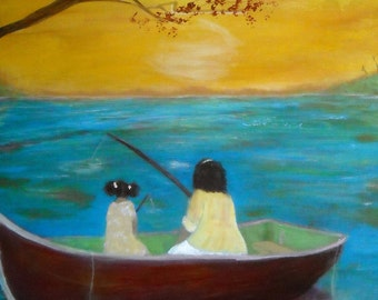 Original 16x20 African American Mother and Child Art - Teaching Her tO Fish