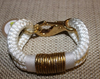 Customized Maine Rope Bracelet - White Rope - White / Metallic Gold - Made to Order