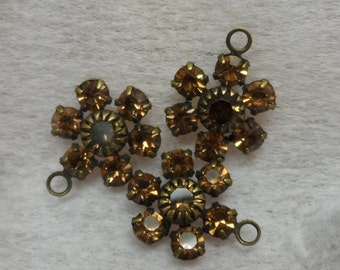 Swarovski crystal 11mm rhinestone clusters with 1 ring,smoke topaz,3pcs-SZC27