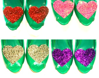 20% off everything with the code XMAS20 Glitter Heart Shoe Clips - Choose your colour! - Valentines, Wedding, Night out